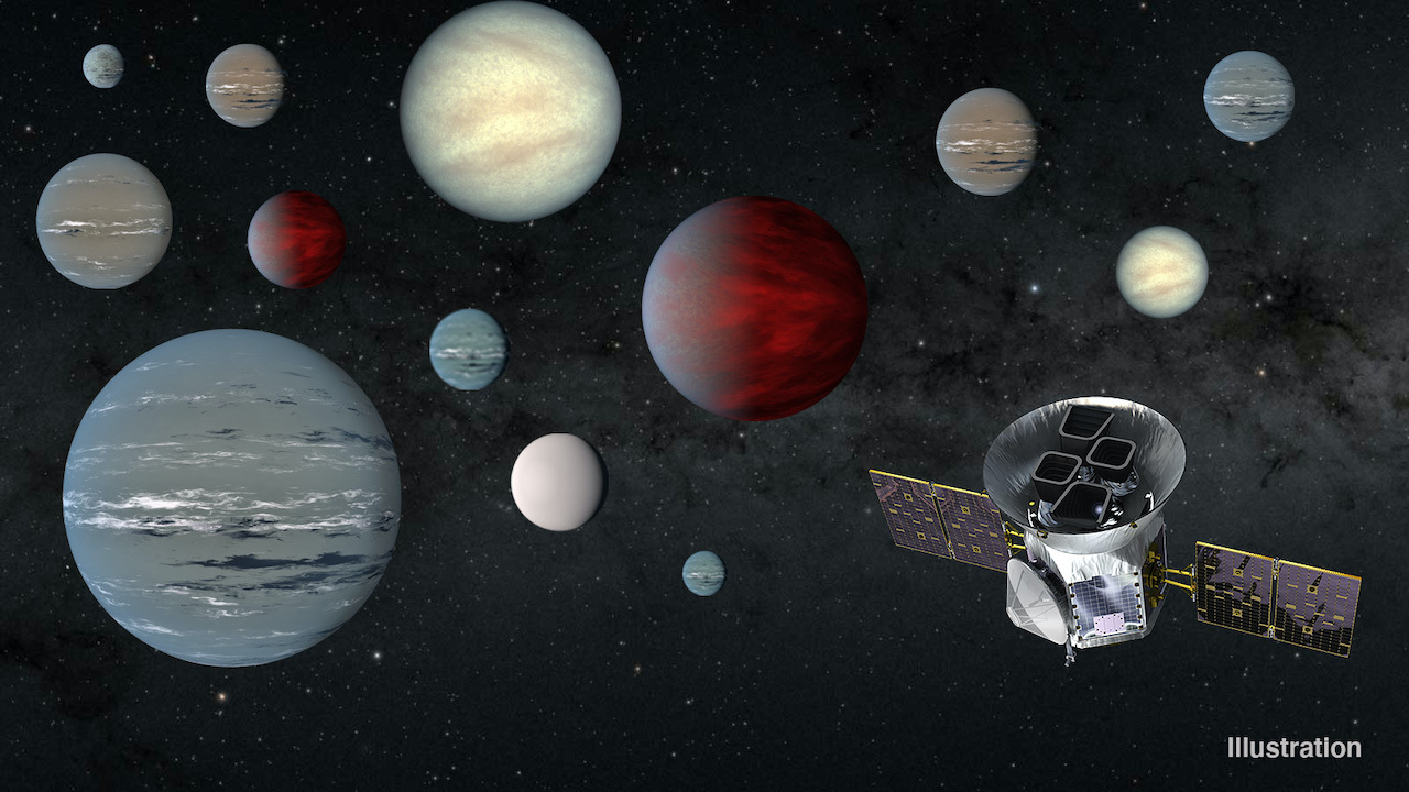 Graphic showing a variety of exoplanets scattered across the night sky and a rendering of the TESS satellite in the lower corner