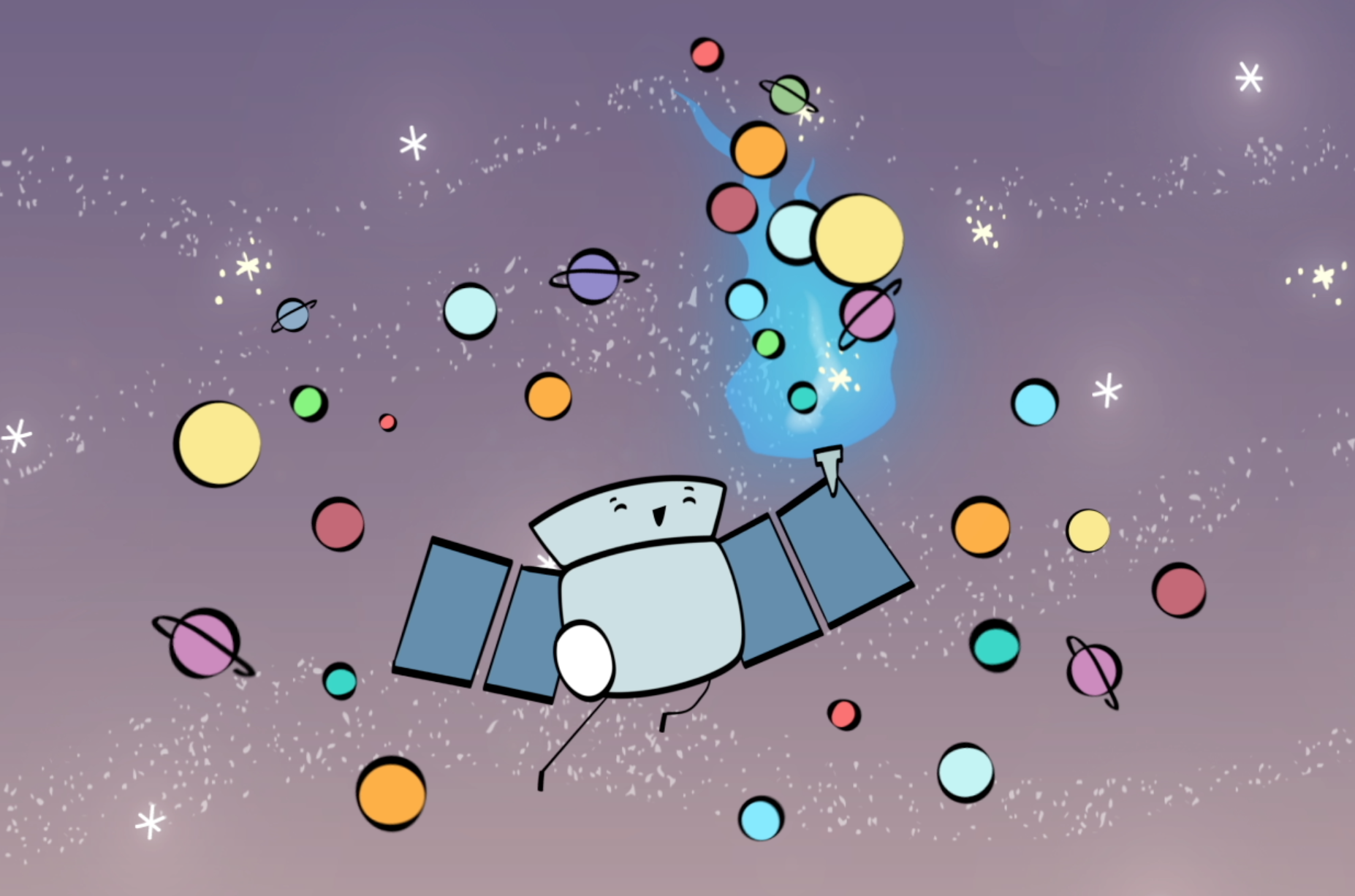 Cartoon of a smiling TESS satellite carrying a torch and surrounded by a cloud of exoplanets